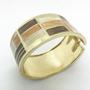 Jewelry - Color Block Goldtone Hinge Bracelet